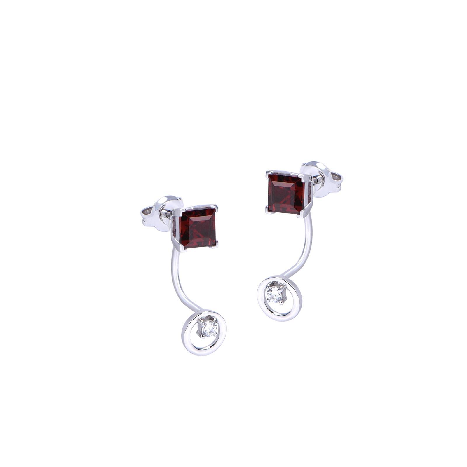 Bông tai đá Garnet 21B012