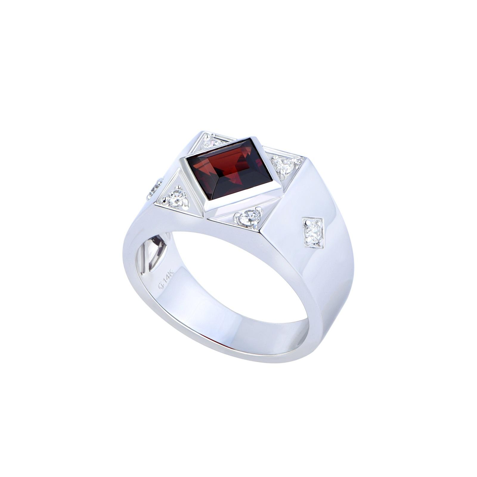 Nhẫn nam đá Garnet 21NN038