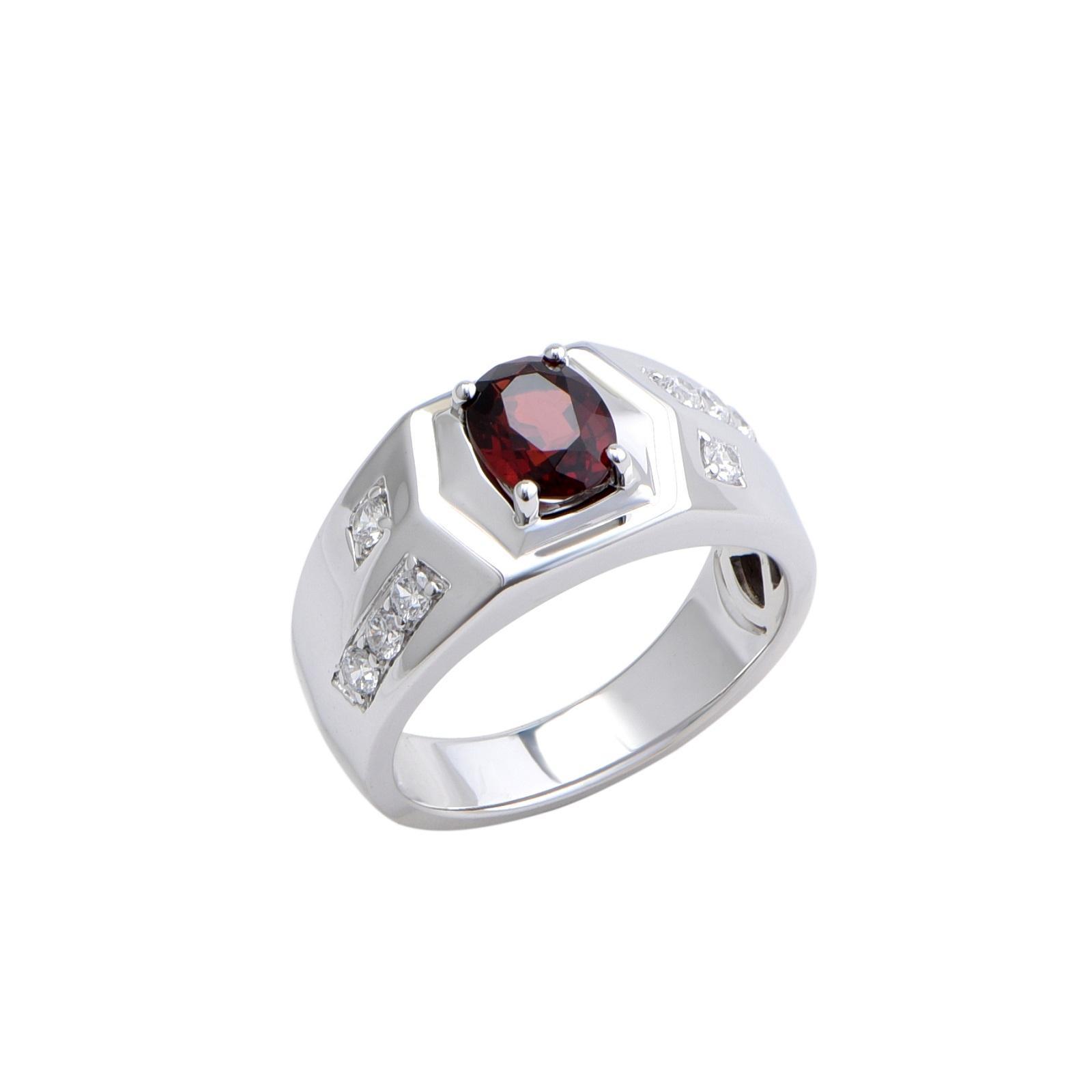 Nhẫn nam đá Garnet 21NN046